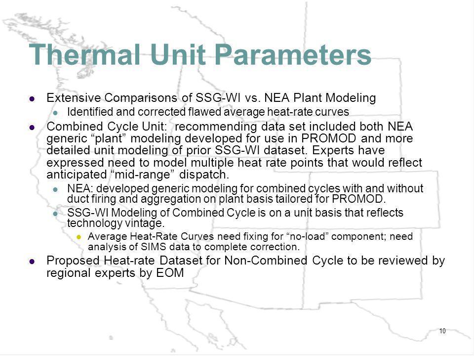 10 Thermal Unit Parameters Extensive Comparisons of SSG-WI vs.