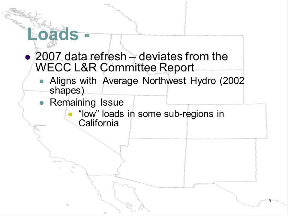 5 Loads - 2007 data refresh – deviates from the WECC L&R Committee Report Aligns with Average Northwest Hydro (2002 shapes) Remaining Issue low loads in some sub-regions in California