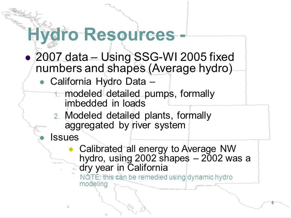 6 Hydro Resources - 2007 data – Using SSG-WI 2005 fixed numbers and shapes (Average hydro) California Hydro Data – 1.