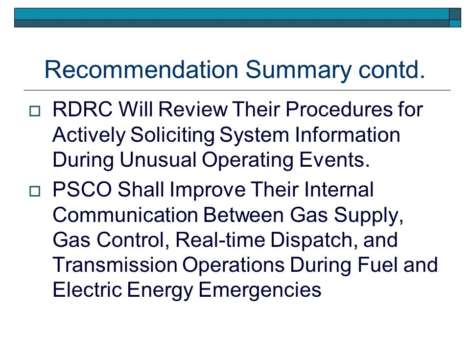 Recommendation Summary contd.