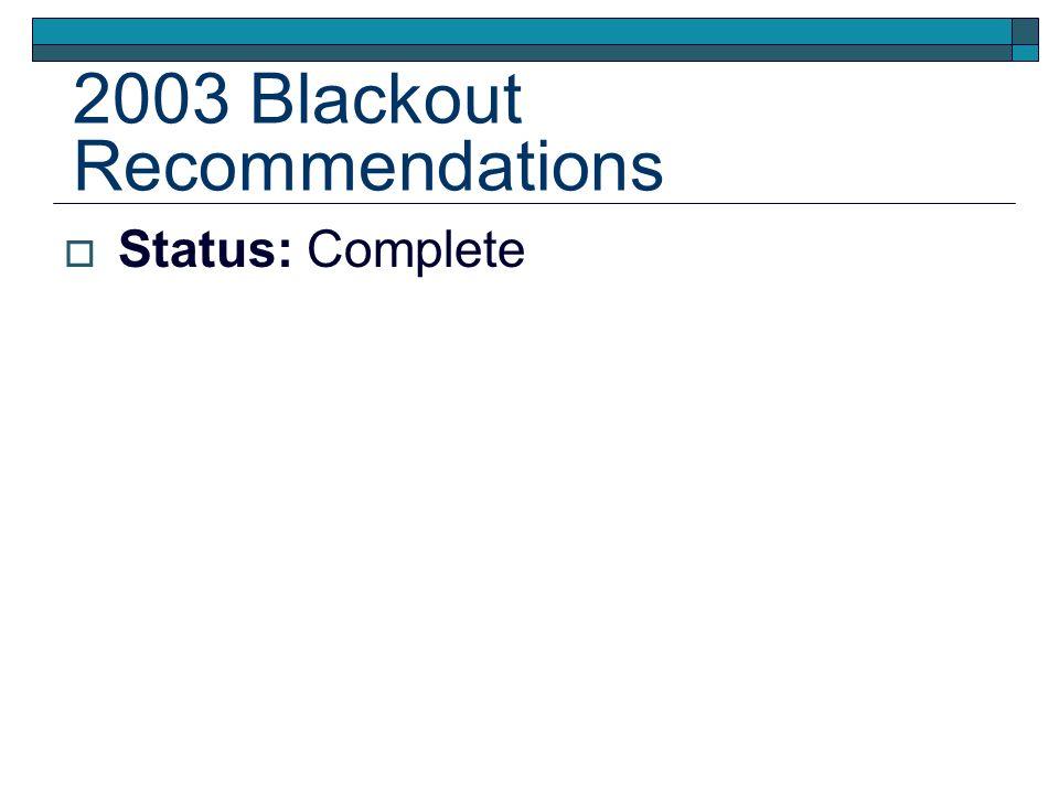 2003 Blackout Recommendations Status: Complete
