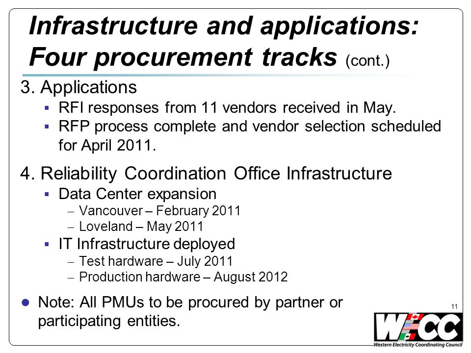 3. Applications RFI responses from 11 vendors received in May.