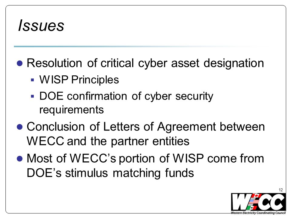 Issues Resolution of critical cyber asset designation WISP Principles DOE confirmation of cyber security requirements Conclusion of Letters of Agreement between WECC and the partner entities Most of WECCs portion of WISP come from DOEs stimulus matching funds 12