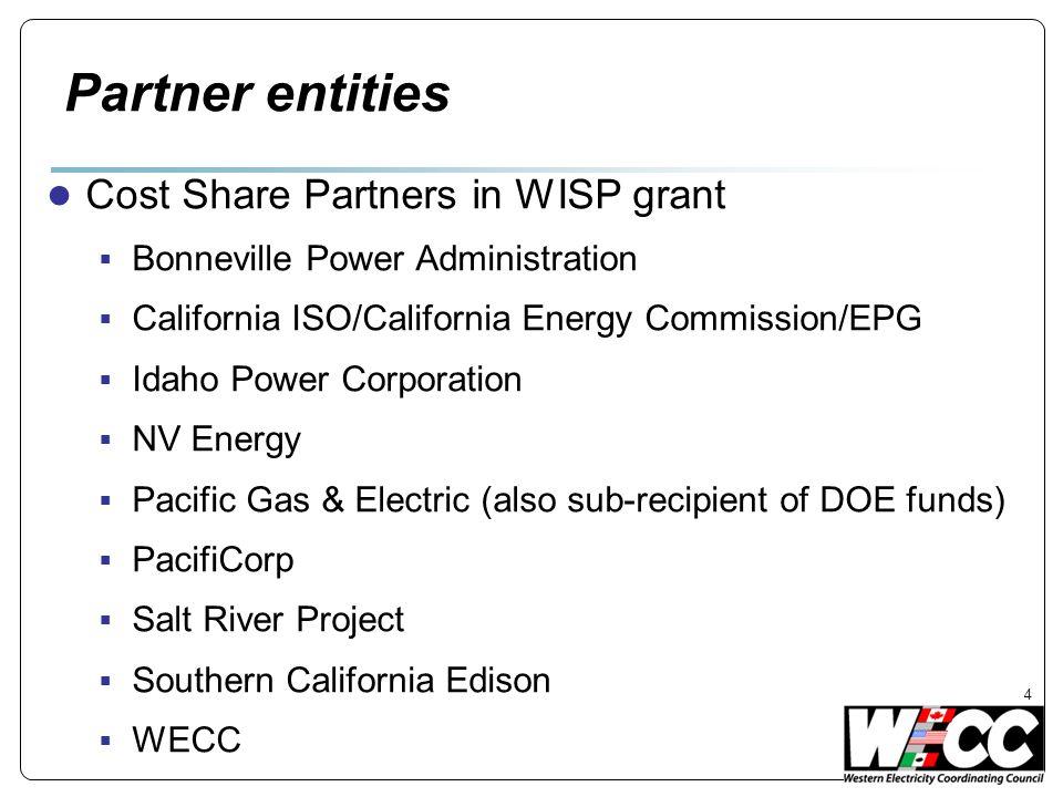 Partner entities Cost Share Partners in WISP grant Bonneville Power Administration California ISO/California Energy Commission/EPG Idaho Power Corpora