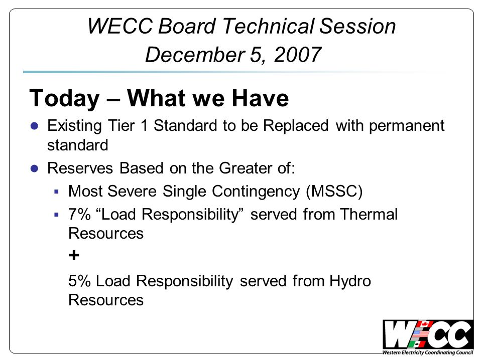 Do Nothing FERC ordered changes not done – historically not a good idea Credibility of the Council Business concerns not addressed, FERC But the lights wont go out FRR continues through field test and standard drafting WECC Board Technical Session December 5, 2007
