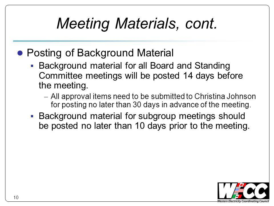 10 Meeting Materials, cont.