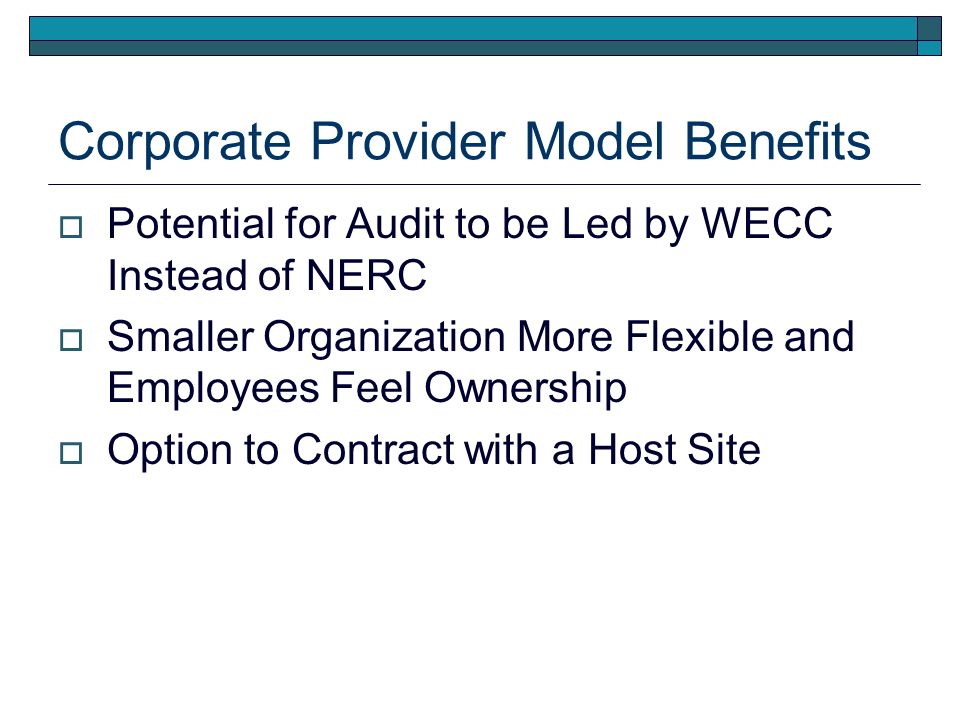 Corporate Provider Model Benefits Potential for Audit to be Led by WECC Instead of NERC Smaller Organization More Flexible and Employees Feel Ownership Option to Contract with a Host Site