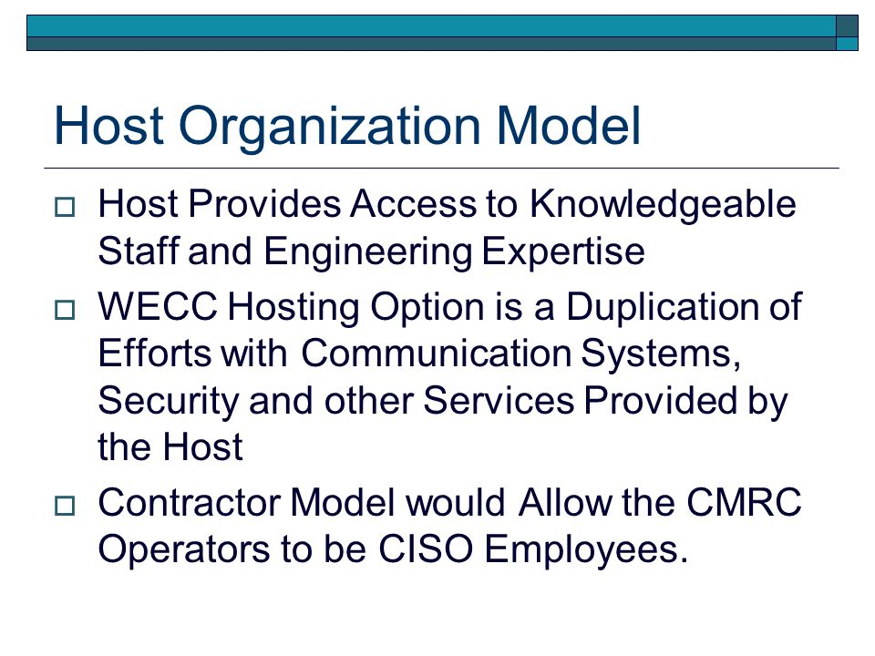 Host Organization Model Large Organization Allows More Opportunities for RC Employees