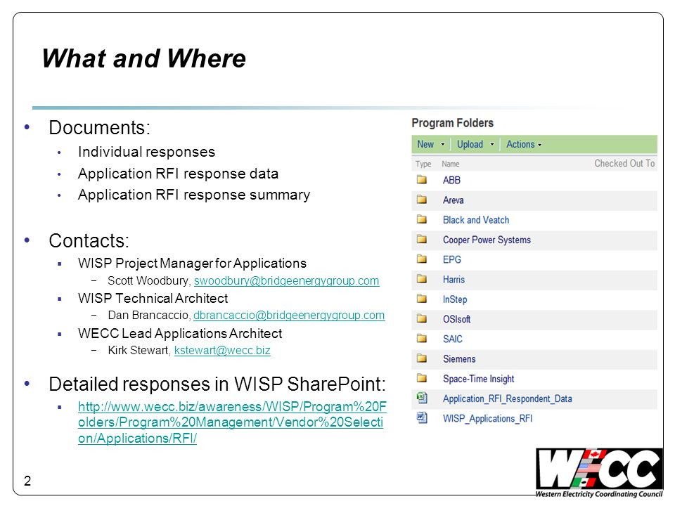 2 What and Where Documents: Individual responses Application RFI response data Application RFI response summary Contacts: WISP Project Manager for App