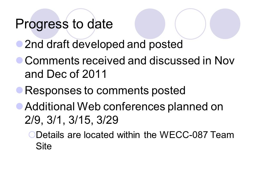 Progress to date 2nd draft developed and posted Comments received and discussed in Nov and Dec of 2011 Responses to comments posted Additional Web con