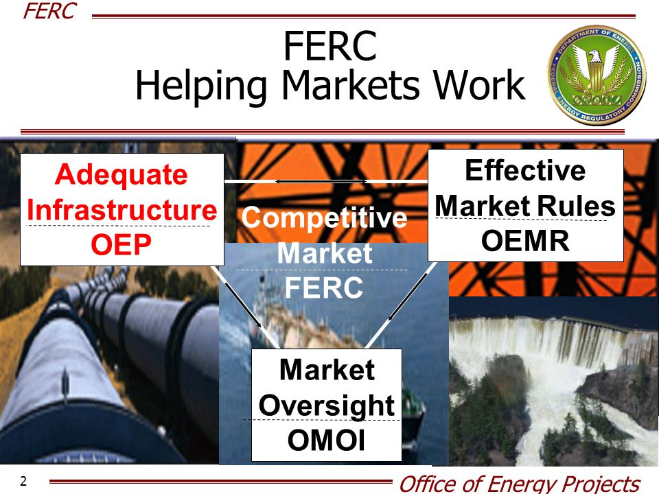 FERC Office of Energy Projects 2 FERC Helping Markets Work Adequate Infrastructure OEP Market Oversight OMOI Competitive Market FERC Effective Market Rules OEMR