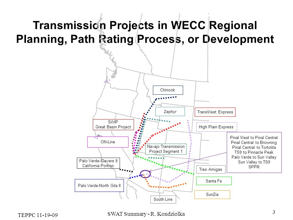 TEPPC 11-19-09 SWAT Summary - R. Kondziolka 3 Transmission Projects in WECC Regional Planning, Path Rating Process, or Development Palo Verde-North Gi