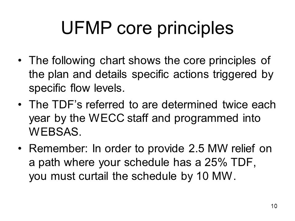 10 UFMP core principles The following chart shows the core principles of the plan and details specific actions triggered by specific flow levels. The