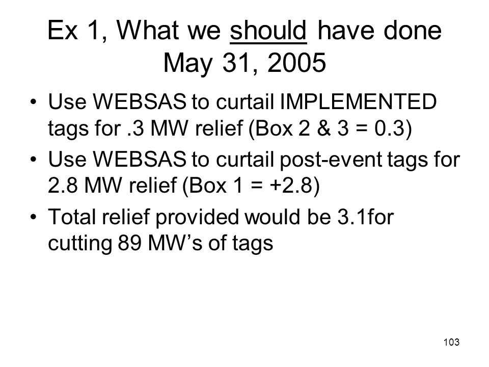 103 Ex 1, What we should have done May 31, 2005 Use WEBSAS to curtail IMPLEMENTED tags for.3 MW relief (Box 2 & 3 = 0.3) Use WEBSAS to curtail post-ev