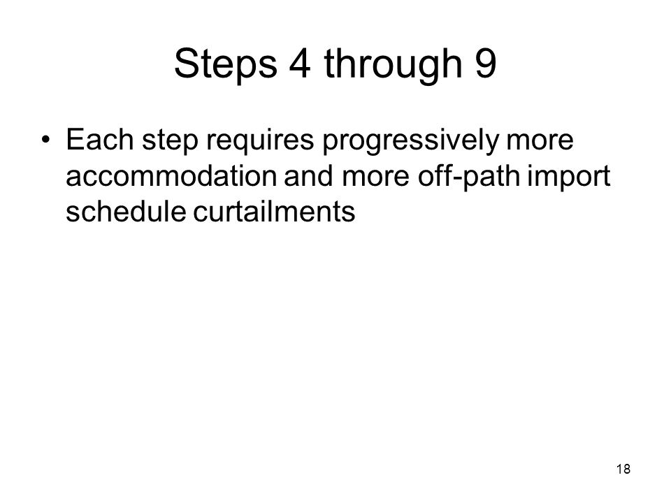 18 Steps 4 through 9 Each step requires progressively more accommodation and more off-path import schedule curtailments