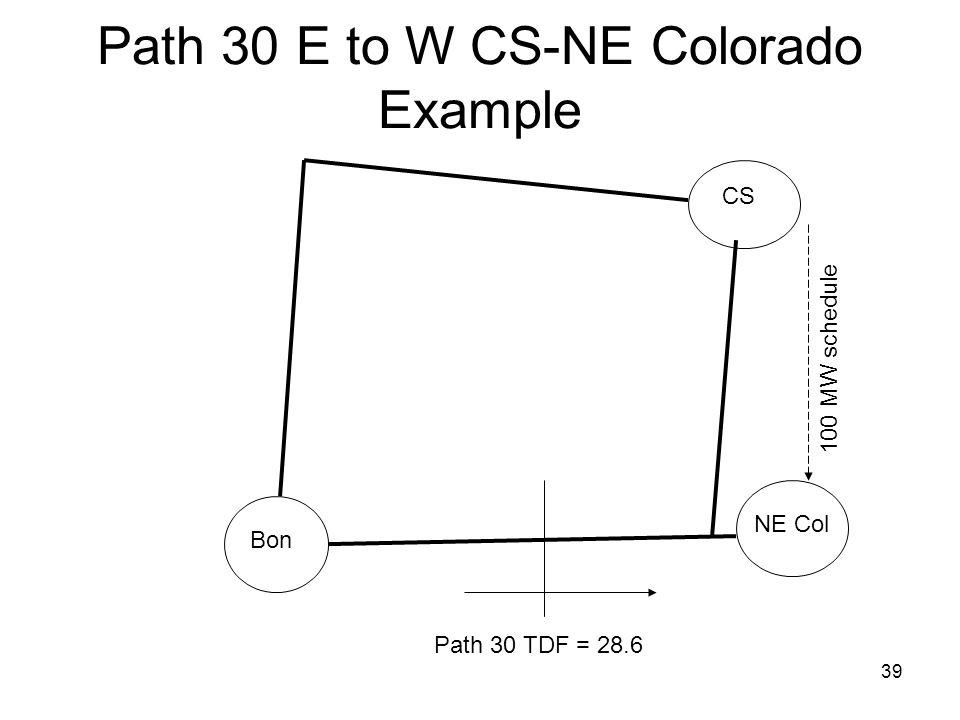 39 Path 30 E to W CS-NE Colorado Example CS Bon NE Col 100 MW schedule Path 30 TDF = 28.6