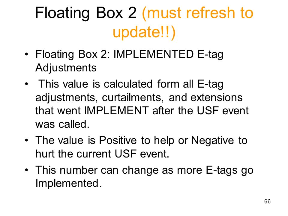 66 Floating Box 2 (must refresh to update!!) Floating Box 2: IMPLEMENTED E-tag Adjustments This value is calculated form all E-tag adjustments, curtai