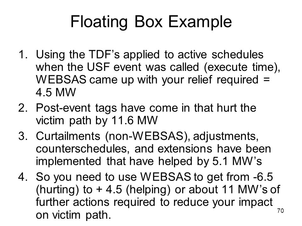70 Floating Box Example 1.Using the TDFs applied to active schedules when the USF event was called (execute time), WEBSAS came up with your relief req