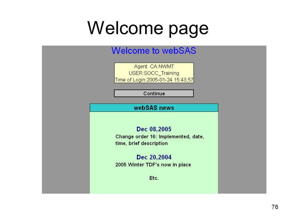 76 Welcome page