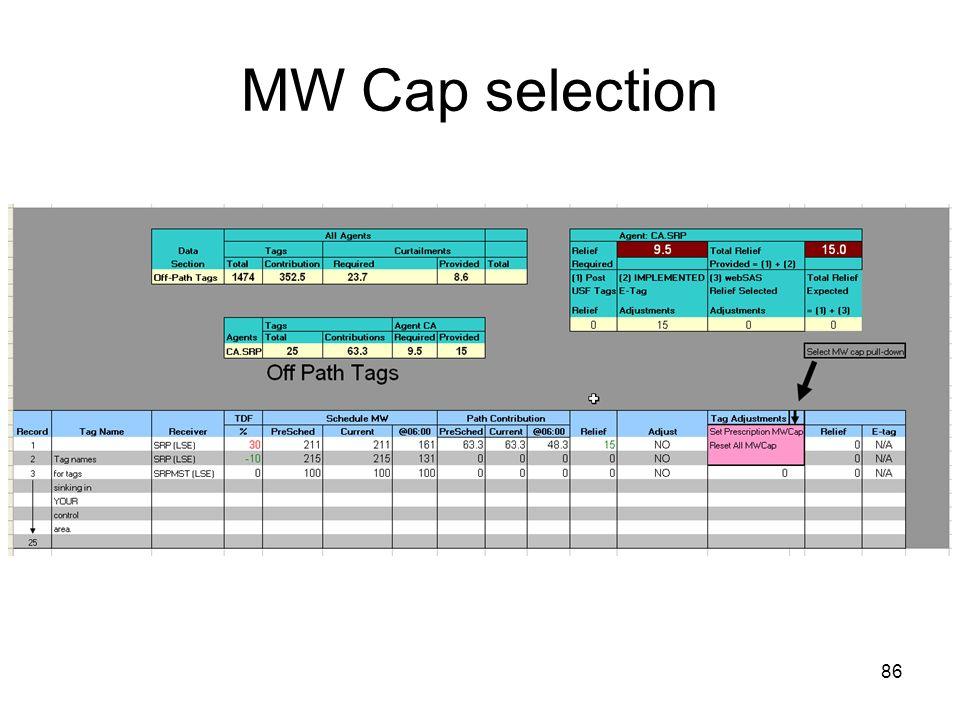 86 MW Cap selection