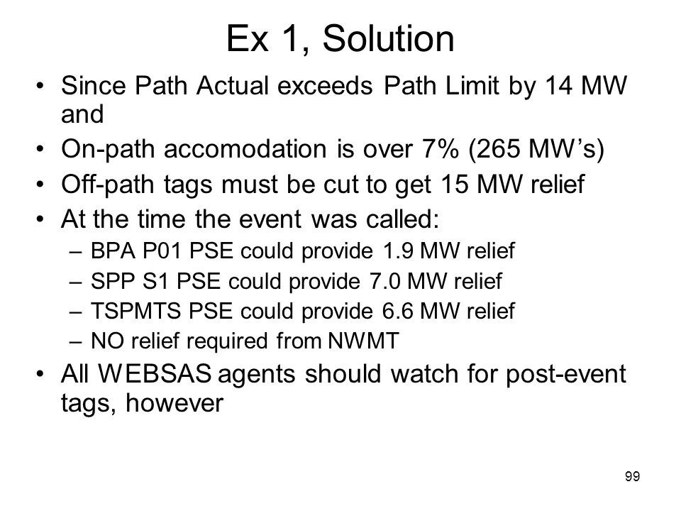 99 Ex 1, Solution Since Path Actual exceeds Path Limit by 14 MW and On-path accomodation is over 7% (265 MWs) Off-path tags must be cut to get 15 MW r