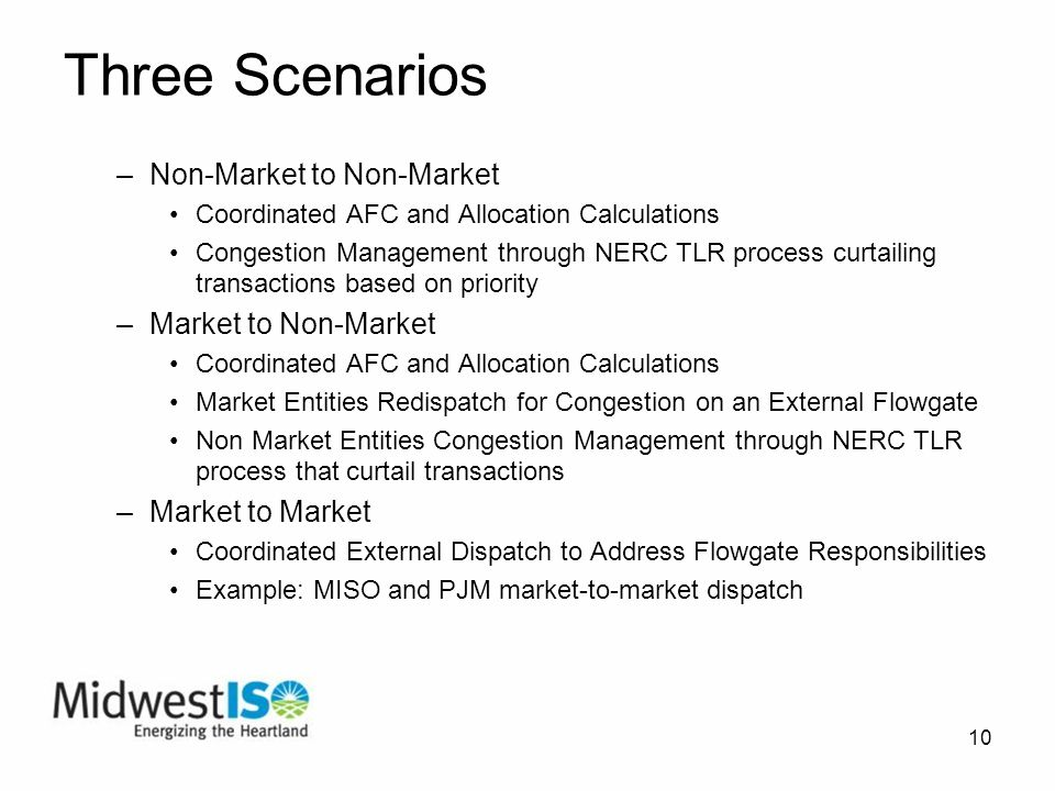 10 Three Scenarios –Non-Market to Non-Market Coordinated AFC and Allocation Calculations Congestion Management through NERC TLR process curtailing transactions based on priority –Market to Non-Market Coordinated AFC and Allocation Calculations Market Entities Redispatch for Congestion on an External Flowgate Non Market Entities Congestion Management through NERC TLR process that curtail transactions –Market to Market Coordinated External Dispatch to Address Flowgate Responsibilities Example: MISO and PJM market-to-market dispatch