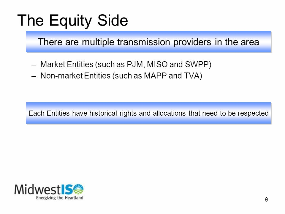 9 The Equity Side –Market Entities (such as PJM, MISO and SWPP) –Non-market Entities (such as MAPP and TVA) There are multiple transmission providers in the area Each Entities have historical rights and allocations that need to be respected