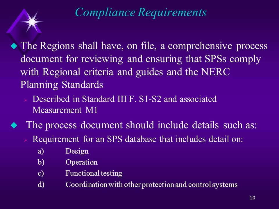 10 Compliance Requirements u The Regions shall have, on file, a comprehensive process document for reviewing and ensuring that SPSs comply with Regional criteria and guides and the NERC Planning Standards Described in Standard III F.