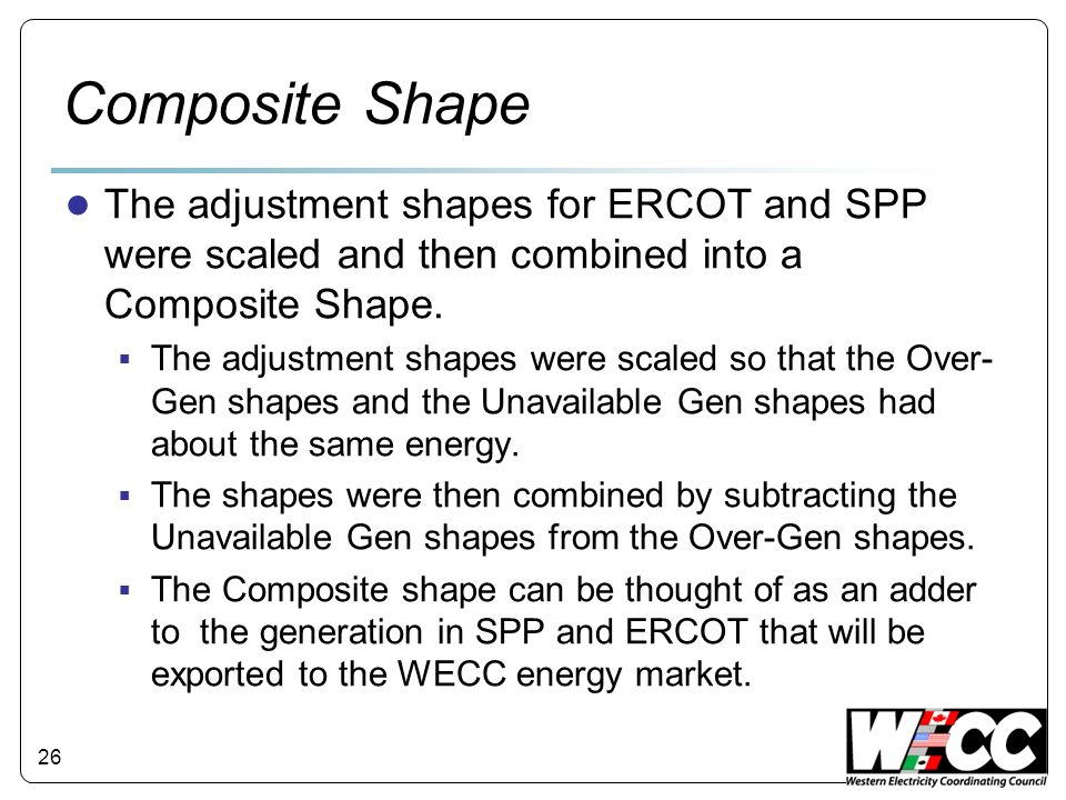 Composite Shape The adjustment shapes for ERCOT and SPP were scaled and then combined into a Composite Shape.