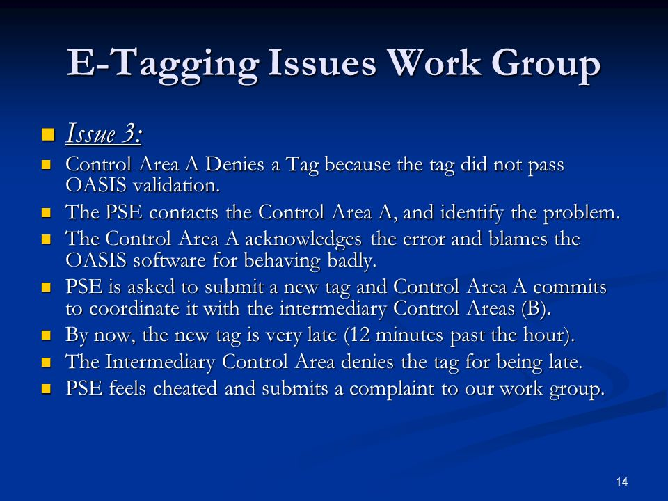14 E-Tagging Issues Work Group Issue 3: Issue 3: Control Area A Denies a Tag because the tag did not pass OASIS validation. Control Area A Denies a Ta
