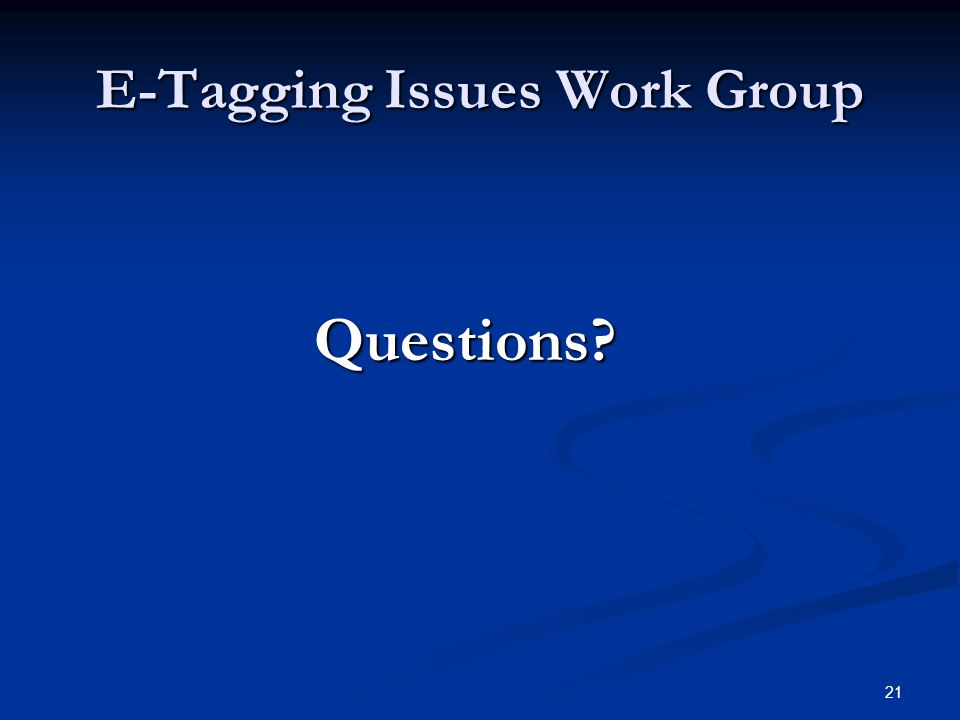 21 E-Tagging Issues Work Group Questions? Questions?