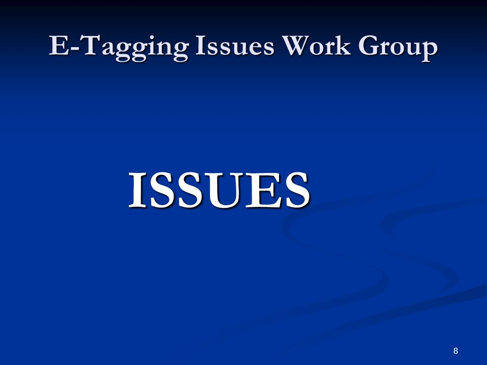 19 E-Tagging Issues Work Group E-Tagging Templates: E-Tagging Templates: Issues & Driving Force Behind it Issues & Driving Force Behind it There will be Grouped into 4 Regions There will be Grouped into 4 Regions Rocky Mountain Rocky Mountain Desert Southwest Desert Southwest Northwest Northwest California California Where Would these Template Reside Where Would these Template Reside WECC ISAS Website WECC ISAS Website Common Western OASIS (webttrans.net) Common Western OASIS (webttrans.net) Future Use: WIT Future Use: WIT