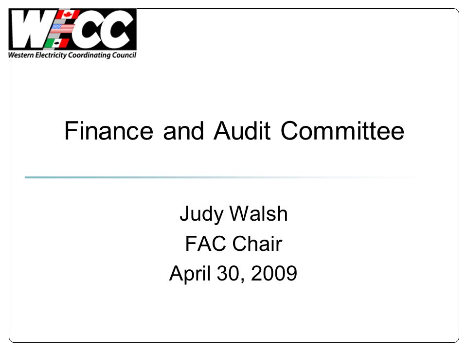 Finance and Audit Committee Judy Walsh FAC Chair April 30, 2009
