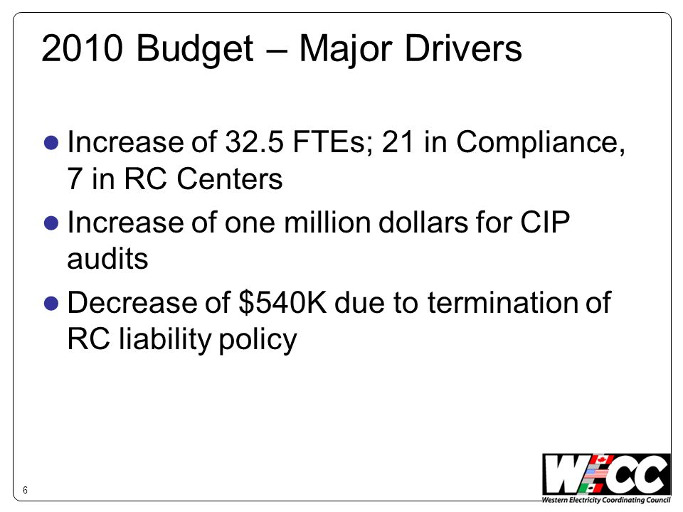 2010 Budget – Major Drivers Increase of 32.5 FTEs; 21 in Compliance, 7 in RC Centers Increase of one million dollars for CIP audits Decrease of $540K due to termination of RC liability policy 6