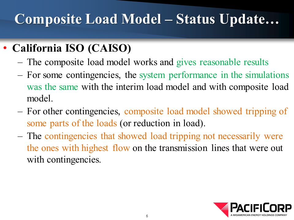 California ISO (CAISO) –The composite load model works and gives reasonable results –For some contingencies, the system performance in the simulations was the same with the interim load model and with composite load model.