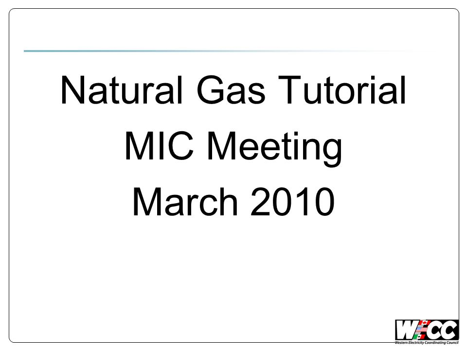 Natural Gas Tutorial MIC Meeting March 2010