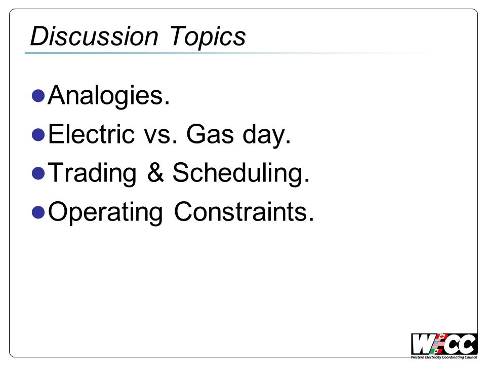 Electric vs. Gas Operations Justin Thompson