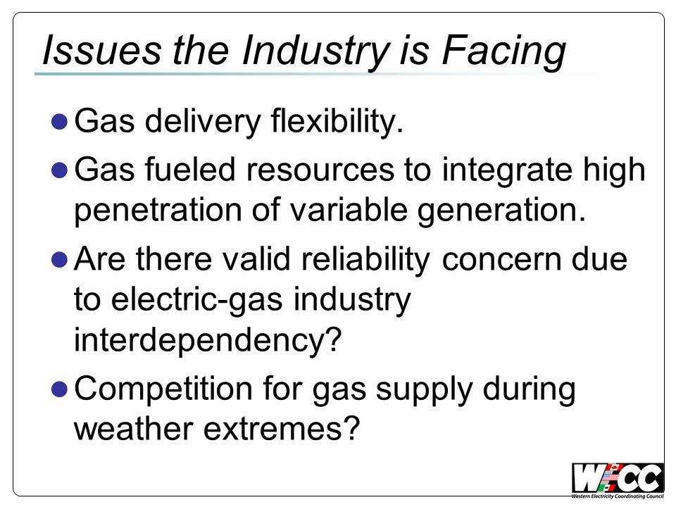 Issues the Industry is Facing Gas delivery flexibility.