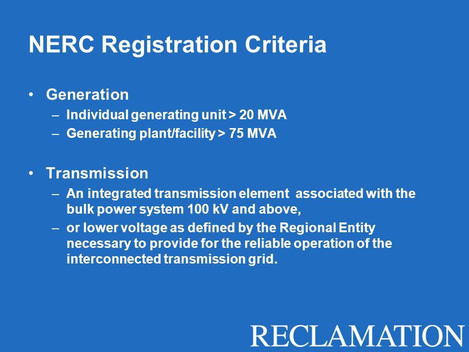 NERC Registration Criteria Generation –Individual generating unit > 20 MVA –Generating plant/facility > 75 MVA Transmission –An integrated transmissio
