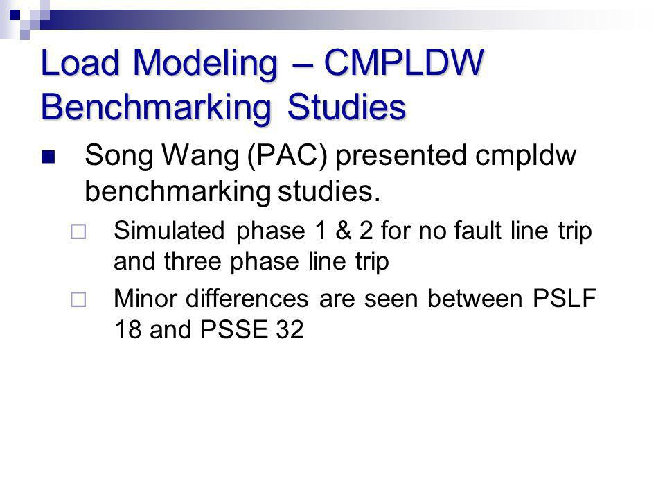 Load Modeling – CMPLDW Benchmarking Studies Song Wang (PAC) presented cmpldw benchmarking studies. Simulated phase 1 & 2 for no fault line trip and th