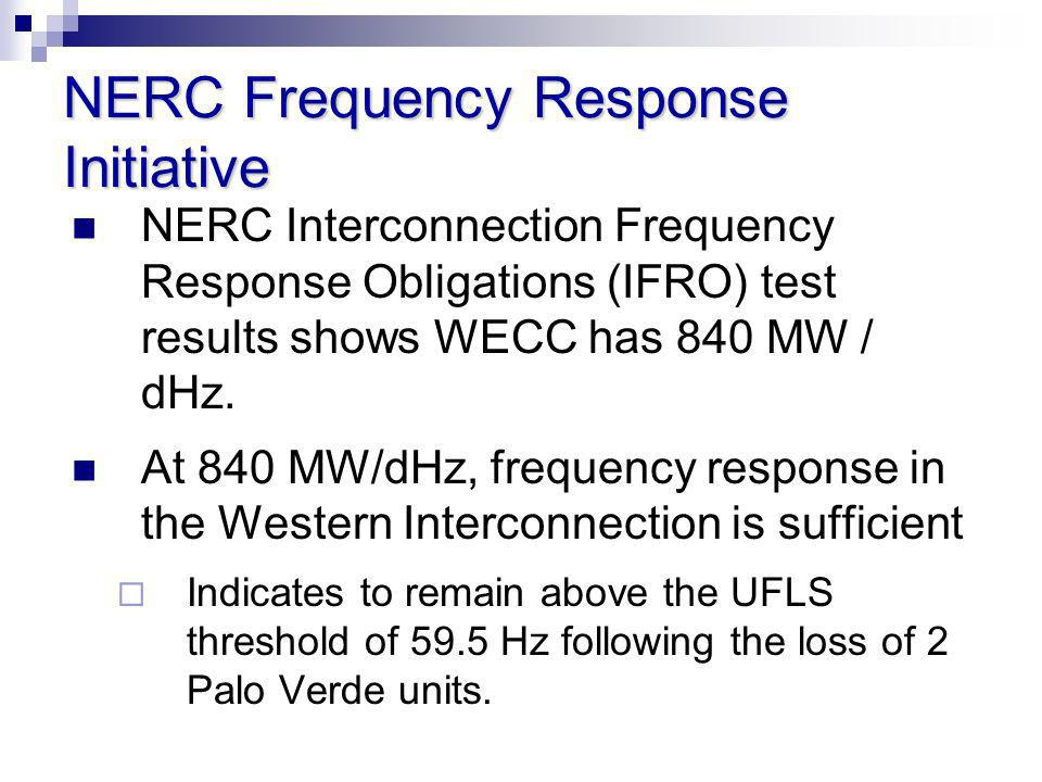 NERC Frequency Response Initiative NERC Interconnection Frequency Response Obligations (IFRO) test results shows WECC has 840 MW / dHz. At 840 MW/dHz,