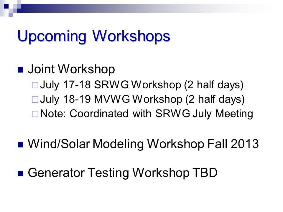 Upcoming Workshops Joint Workshop July 17-18 SRWG Workshop (2 half days) July 18-19 MVWG Workshop (2 half days) Note: Coordinated with SRWG July Meeti