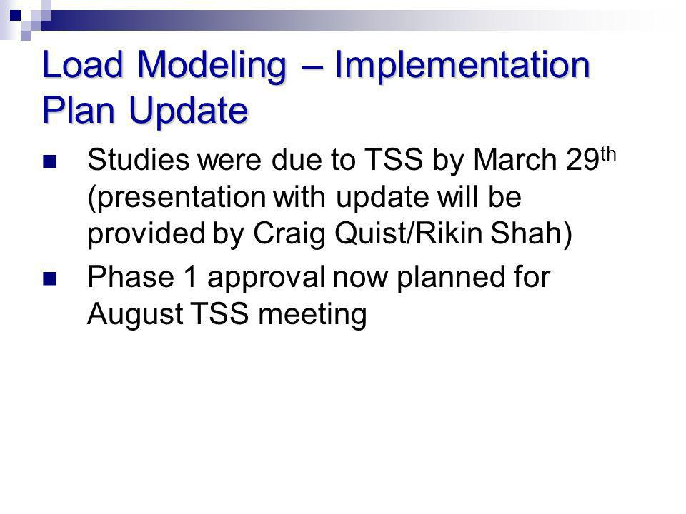 Load Modeling – Implementation Plan Update Studies were due to TSS by March 29 th (presentation with update will be provided by Craig Quist/Rikin Shah