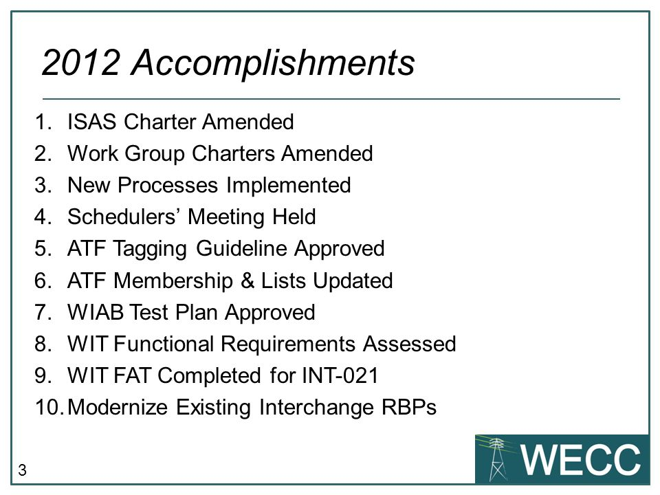 3 1.ISAS Charter Amended 2.Work Group Charters Amended 3.New Processes Implemented 4.Schedulers Meeting Held 5.ATF Tagging Guideline Approved 6.ATF Membership & Lists Updated 7.WIAB Test Plan Approved 8.WIT Functional Requirements Assessed 9.WIT FAT Completed for INT-021 10.Modernize Existing Interchange RBPs 2012 Accomplishments