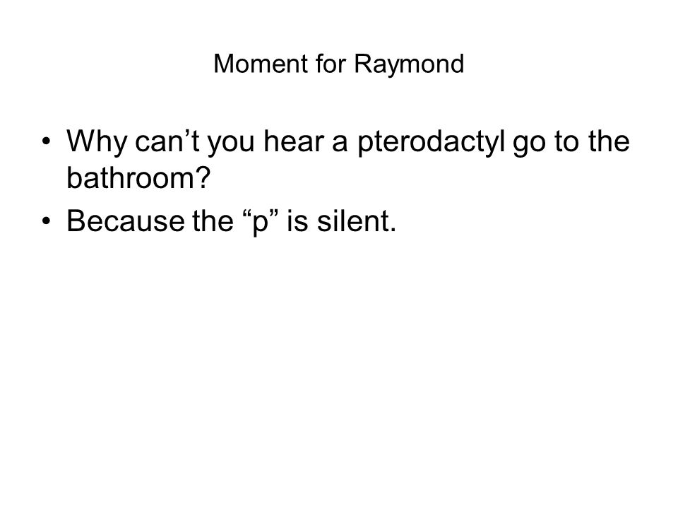 Moment for Raymond Why cant you hear a pterodactyl go to the bathroom Because the p is silent.