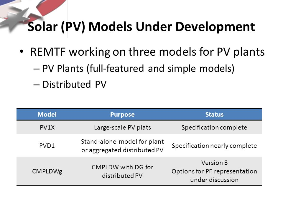 Solar (PV) Models Under Development REMTF working on three models for PV plants – PV Plants (full-featured and simple models) – Distributed PV ModelPu