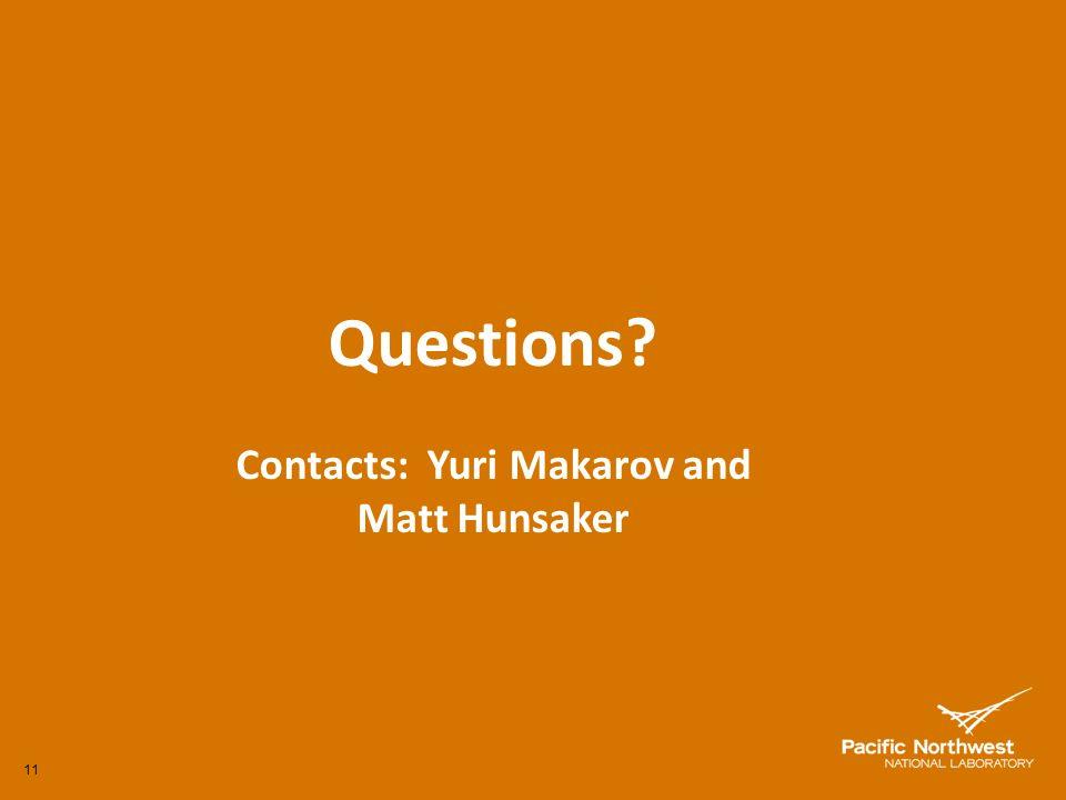 11 Questions? Contacts: Yuri Makarov and Matt Hunsaker