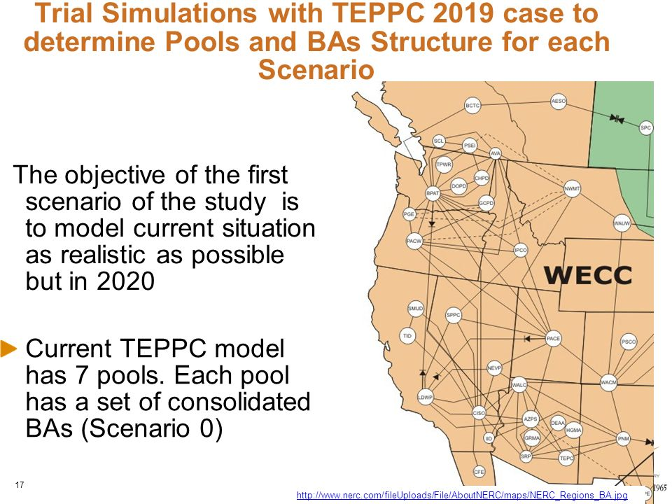 Trial Simulations with TEPPC 2019 case to determine Pools and BAs Structure for each Scenario Current TEPPC model has 7 pools.