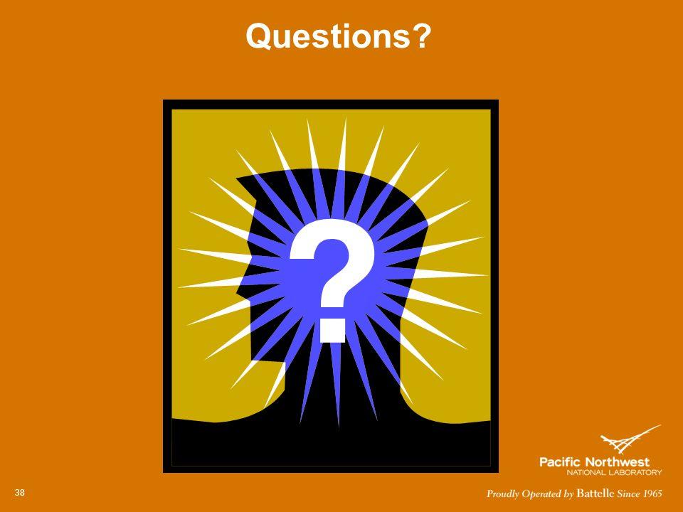 38 QUESTIONS? Questions?