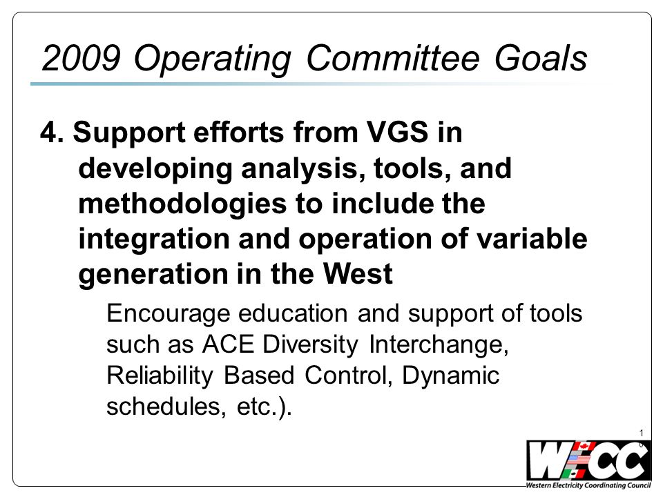 Operating Committee Goals 4.